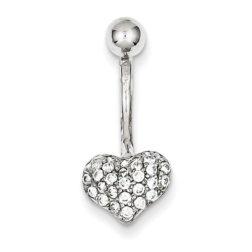 Pave Synthetic Diamond Heart Belly Dangle 10k White Gold 10BD115