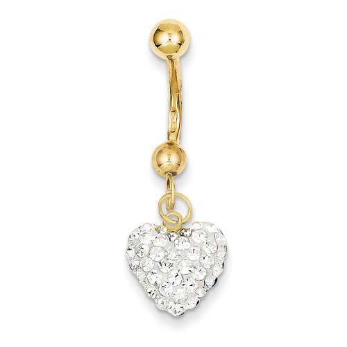 Dangle White Crystal Heart Belly Dangle 10k Gold 10BD116