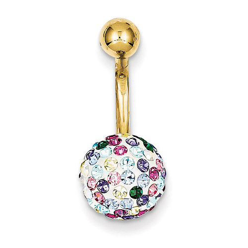 Multi-Color Crystal Ball Belly Dangle 10k Gold 10BD121