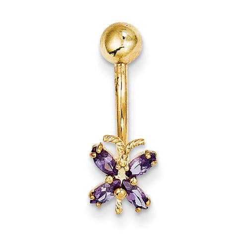 Purple Synthetic Diamond Butterfly Belly Dangle 10k Gold 10BD131