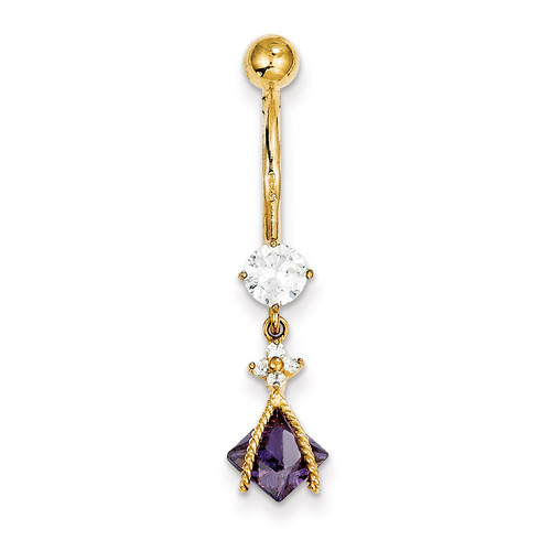 Dangle 6Mm Sq Amy Synthetic Diamond Belly Dangle 10k Gold 10BD145