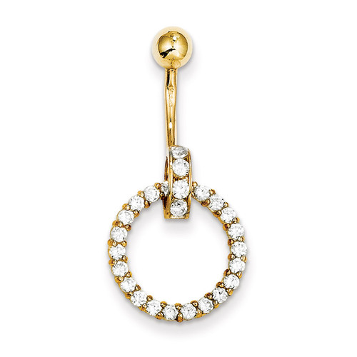 Synthetic Diamond Huggy Circle Belly Dangle 10k Gold 10BD149