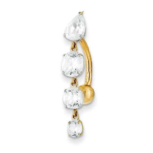Tops Down with 4 Dangle Synthetic Diamond Belly Dangle 10k Gold 10BD152