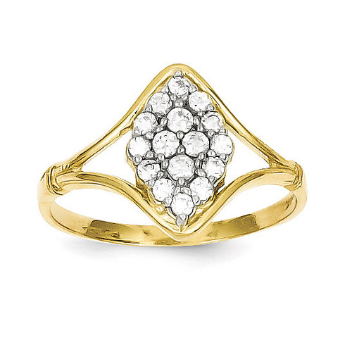 Ring 10k Gold Synthetic Diamond 10C1174