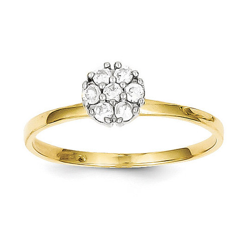 Cluster Promise Ring 10k Gold Synthetic Diamond 10C1175