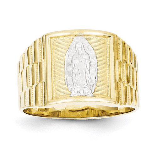 Men's Our Lady of Guadalupe Ring 10K Gold & Rhodium 10C1294