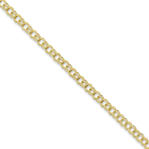 Solid Double Link Charm Bracelet 7 Inch 10k Gold 10CH2-7