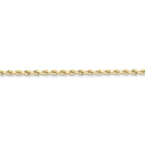 3mm Handmade Diamond-cut Rope Chain 30 Inch 10k Gold 10K023-30