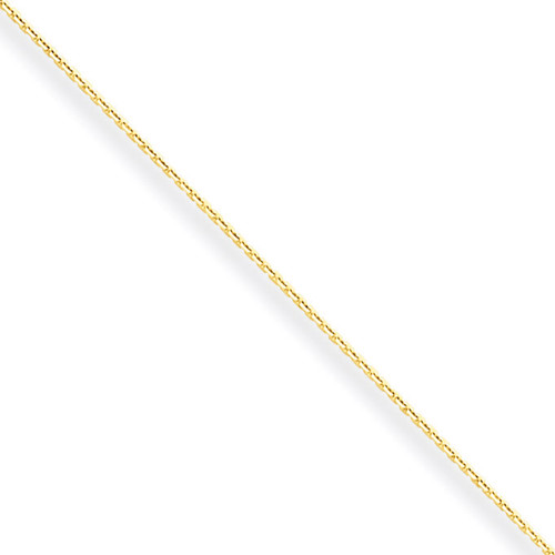 0.6mm Solid Diamond-cut Cable Chain 24 Inch 10k Gold 10PE136-24