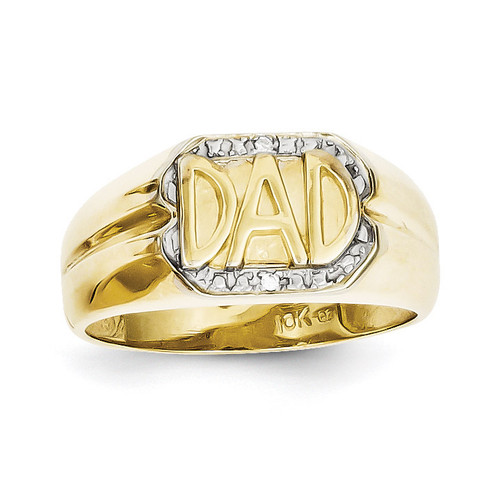 Men's Diamond DAD Ring 10k Gold 10X164