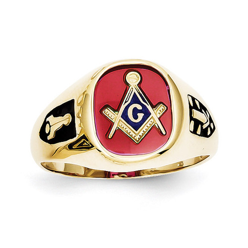 Red Acrylic Mens Masonic Ring 10k Gold 10X24