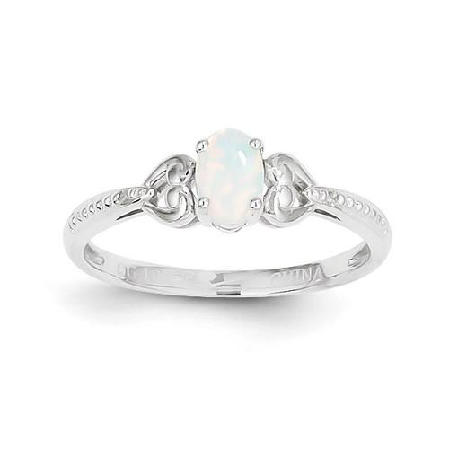 Genuine Opal Diamond Ring 10k White Gold 10XB295