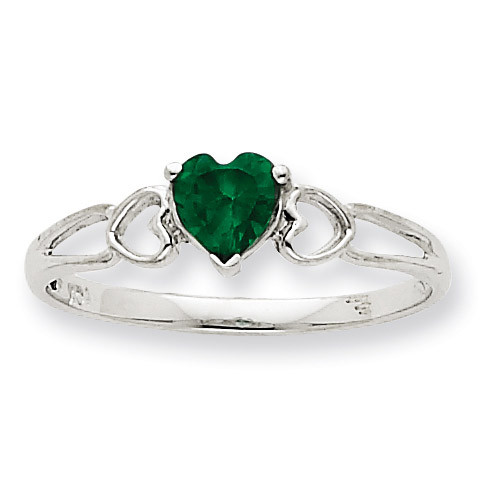 Polished Geniune Emerald Birthstone Ring 10k White Gold 10XBR170