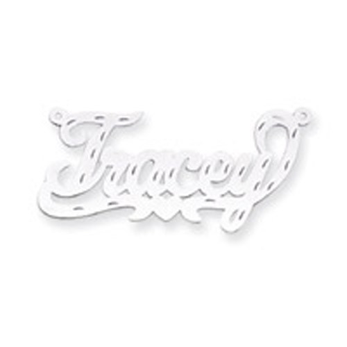 0.013 Gauge Polished Diamond-cut Nameplate 10k White Gold 10XNA150W