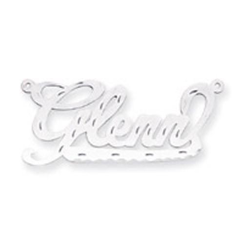 0.013 Gauge Polished Diamond-cut Nameplate 10k White Gold 10XNA151W