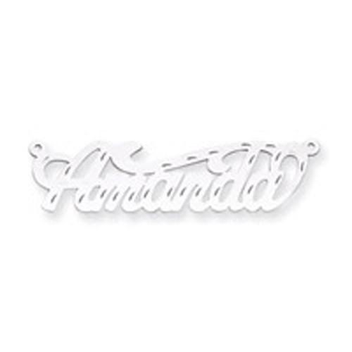 0.013 Gauge Polished Diamond-cut Nameplate 10k White Gold 10XNA153W