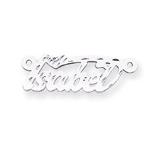 0.013 Gauge Polished Diamond-cut Nameplate 10k White Gold 10XNA168W