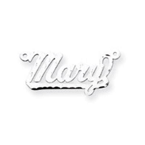 0.013 Gauge Satin Diamond-cut Nameplate 10k White Gold 10XNA185W
