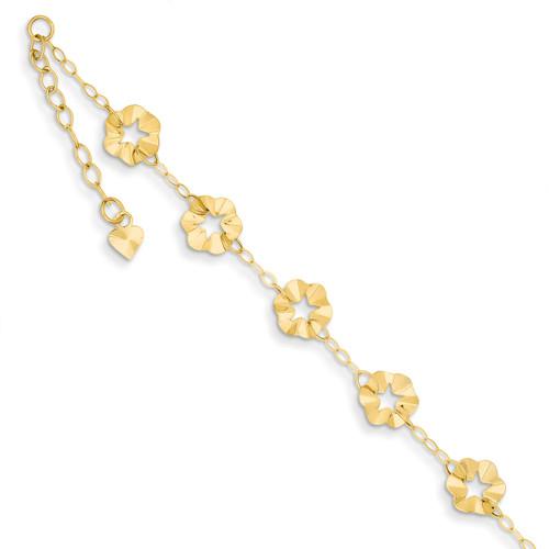 Adjustable Flower Anklet 9 Inch 14k Gold ANK176-9