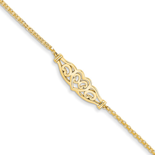 Filigree Heart Anklet 10 Inch 14k Gold Polished ANK33-10