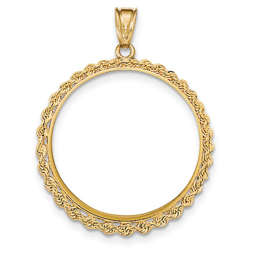 Hand Made Rope Polished Prong 1P Coin Bezel 14k Gold BA1/1P