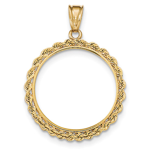 Hand Made Rope Polished Prong 1/2P Coin Bezel 14k Gold BA1/2P