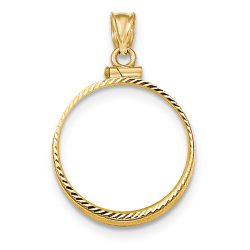Screw Top 1/4AE Coin Bezel 14k Gold Diamond-cut BA11/4AE