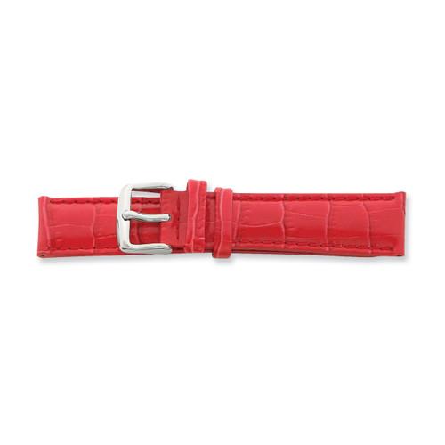 18mm Red Crocodile Grain Chrono Silver-tone Buckle Watch Band BA111-18