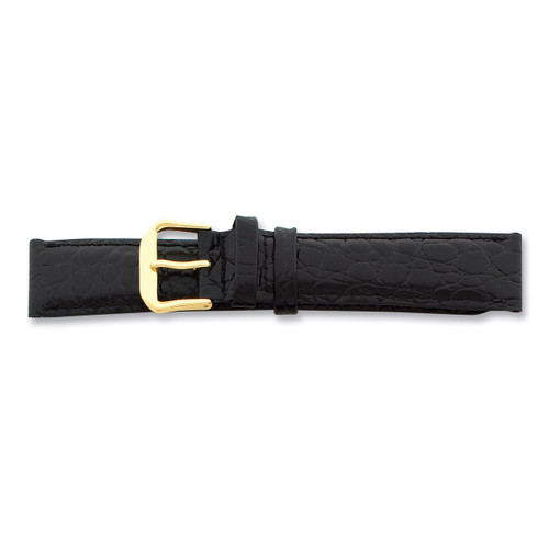 18mm Long Black Alligator Grain Leather Gld-tone Buckle Watch Band BA22L-18