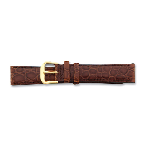16mm Brown Alligator Grain Leather Gld-tone Buckle Watch Band BA23-16