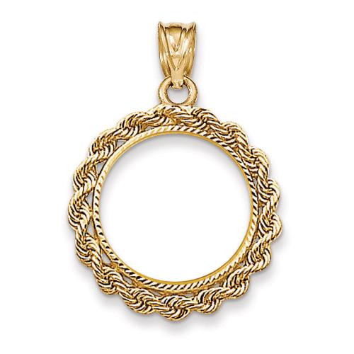 Handmade Rope Diamond-cut Prong 1/10AE Coin Bezel 14k Gold BA66/10AE