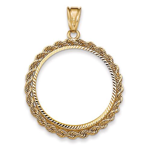 Handmade Rope Diamond-cut Prong 1/2AE Coin Bezel 14k Gold BA66/2AE