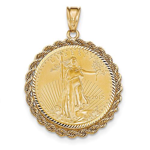 Handmade Rope Diamond-cut Prong 1/2AE Bezel with coin 14k Gold BA66/2AEC