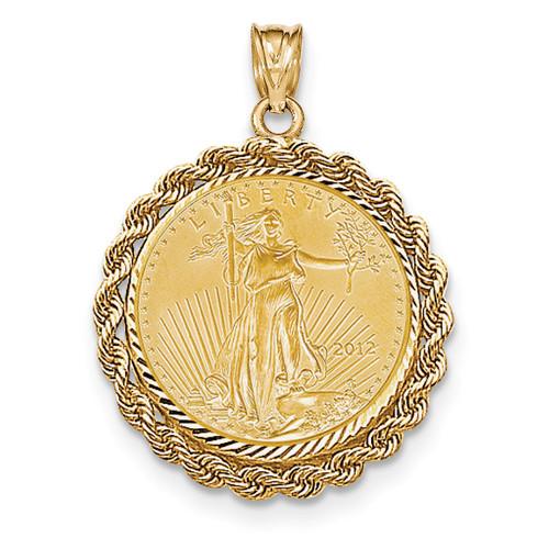 Handmade Rope Diamond-cut Prong 1/4AE Bezel with coin 14k Gold BA66/4AEC