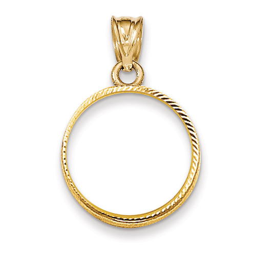 Prong 1/10AE Coin Bezel 14k Gold Diamond-cut BA67/10AE