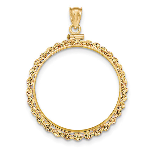 Hand Made Rope Polished Screw Top 1AE Coin Bezel 14k Gold BA70/1AE