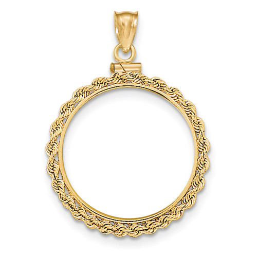 Hand Made Rope Polished Screw Top 1/2AE Coin Bezel 14k Gold BA70/2AE