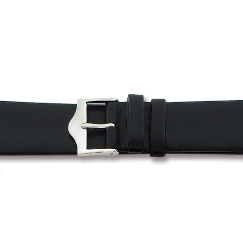 14mm Flat Black Leather Silver-tone Buckle Watch Band BA90-14