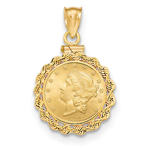 Hand Made Rope Polished Screw Top $1.0 Coin Bezel 14k Gold BUS1/1.0