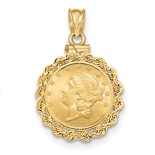 Hand Made Rope Polished Screw Top $2.5 Coin Bezel 14k Gold BUS1/2.5