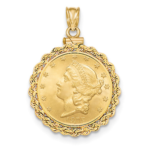 Hand Made Rope Polished Screw Top $5 Coin Bezel 14k Gold BUS1/5
