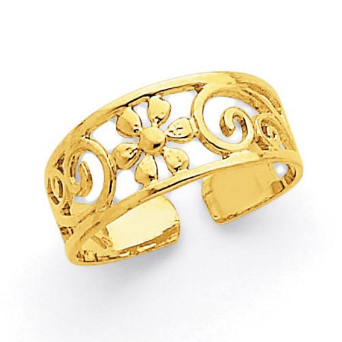 Floral Toe Ring 14k Gold C2062