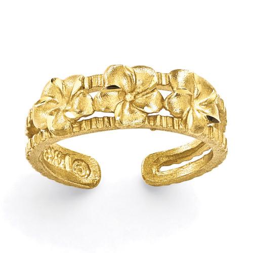 Plumeria Toe Ring 14k Gold C2065