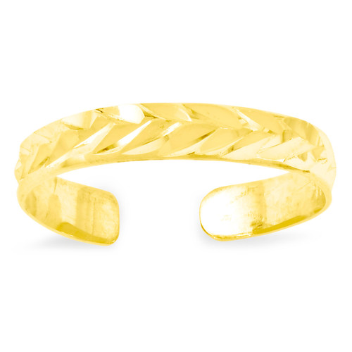 Toe Ring 14k Gold Diamond-cut C2095
