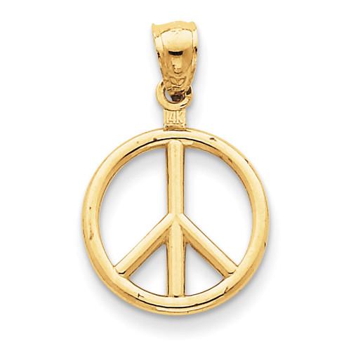 Peace Sign Charm 14k Gold Polished C2247