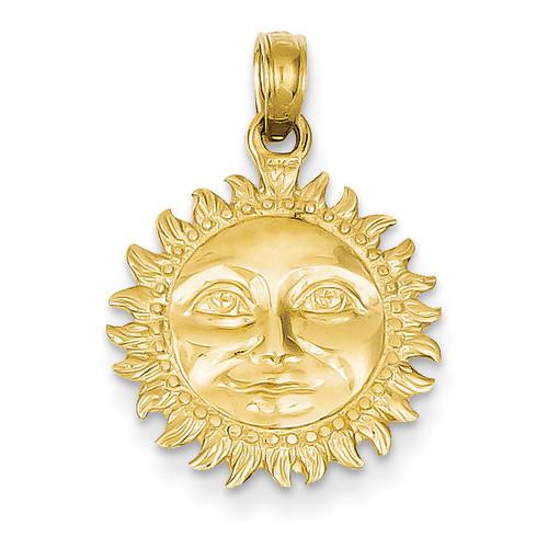 3-Dimensional Sun Pendant 14k Gold Solid Polished C2282