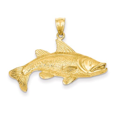 Open-Backed Redfish Pendant 14k Gold Polished C2575
