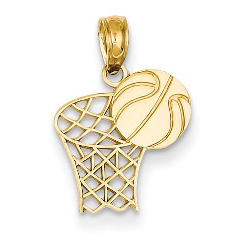 Basketball Hoop and Ball Penda 14k Gold C3777