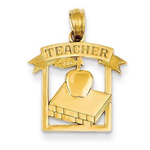 Flat-Backed Teacher Frame Pendant 14k Gold Polished D1246