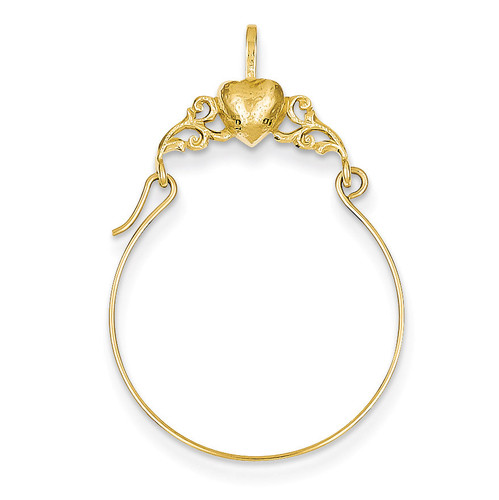 Heart Charm Holder 14k Gold Polished D1310